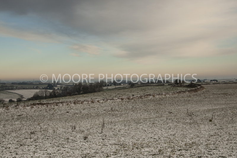 Winter fields with morning frost near Marshfield
