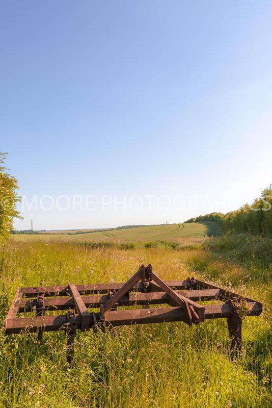 Rusty farm equipment in field